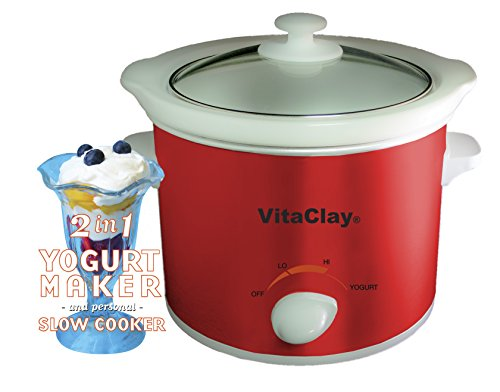 Vitaclay Vs7600-2 Red Stoneware Yogurt Maker And Slow Cooker, 64-Ounce, Red