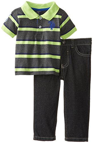 U.S. Polo Assn. Baby-Boys Infant Jersey Polo And Denim Jean Set, Lime Lory, 18 Months