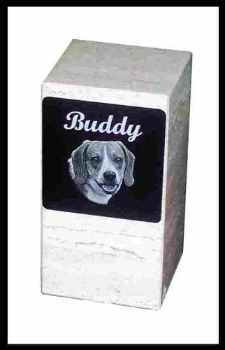 Pet Cremation Rectangle Urn Custom Photo Marker Dog -- for Pets up to 60 Lbs.