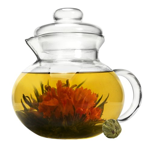 Primula Blossom Glass Teapot - Wide Mouthed Borosilicate Glass - 40 oz. - Dishwasher and Microwave Safe - Clear - Includes 1 Flowering Tea (All Glass Kettle compare prices)