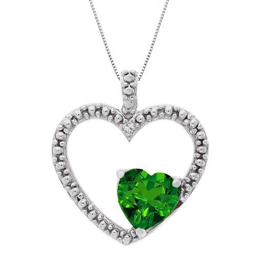 Created Emerald and Diamond Double Heart Pendant