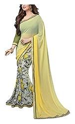 ARV ENTERPRISE Women's Georgette Saree (Yellow and Green)