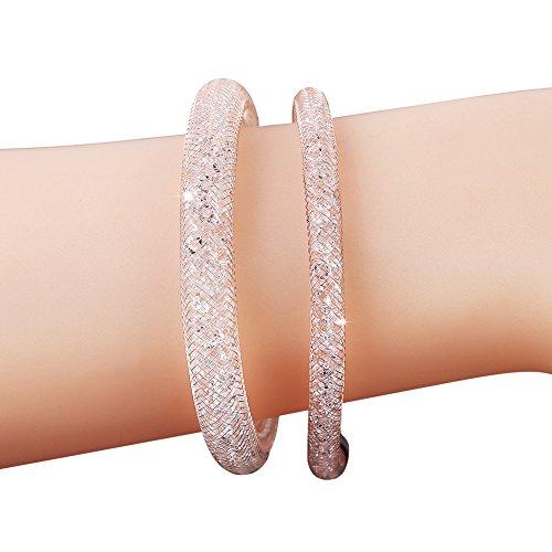 miraculous-garden-2pcs-rose-gold-plated-clear-swarovski-crystal-couple-link-mesh-bracelet