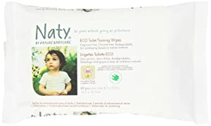 Naty by Nature Babycare Eco Toilet Training Wipes - 10 x Packs of 60 (Total 600 Wipes)