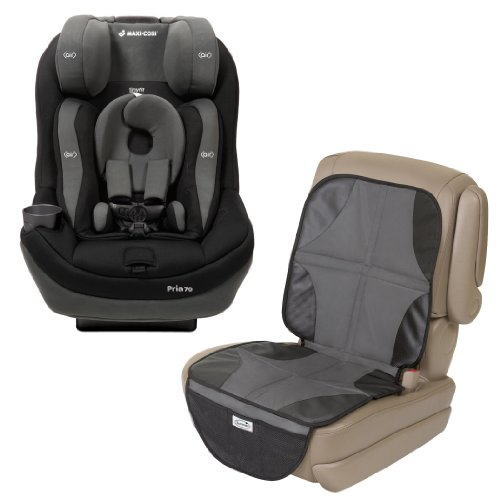 Maxi-Cosi Pria 70 Convertible Car Seat With Tiny Fit With Car Seat Mat Protector, Total Black