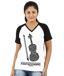 Fanideaz V Neck Cotton Sherlock Favourite Violin Raglan T Shirt For Women_Black_M