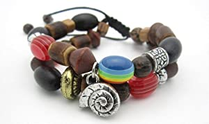 Unisex Wooden Beaded Stack Bracelet with Shell Pendant - Unisex Beaded Wooden Bracelets