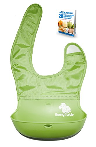 buy Waterproof Baby Toddler Pocket Bib for Feeding with Soft Silicone Crumb Catcher (Green) for sale