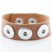 Small Caramel Textured Grain Soft Leather Snap Chunk Bracelet - 22cm