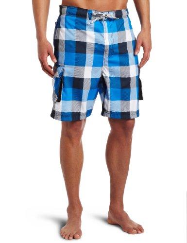 Free Country Men's Daytrip Buffalo Plaid Free C Board Swimsuit