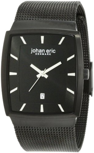 Johan Eric JE1002-13-007 - Reloj analógico de cuarzo para hombre con correa de acero inoxidable, color negro