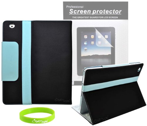 CrazyOnDigital Designed 2 Tone Black and Blue Leather Case for Apple iPad 2 2nd Generation 16GB 32GB 64GB 3G Wifi