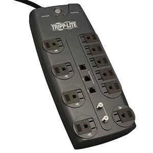 Tripp Lite TLP1008TELTV 10 Outlet Surge Protector (3345 Joules, Tel/DSL/Coax)