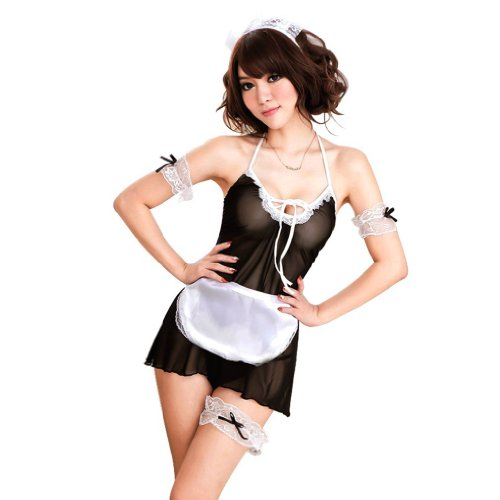 TM Sexy Lingerie Blk Sheer French Maid Babydoll Costume halloween costumes