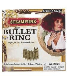 Steampunk Bullet Ring Adult-Gold / One-Size