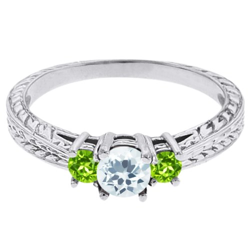 0.57 Ct Round Sky Blue Topaz Green Peridot 18K White Gold 3-Stone Ring