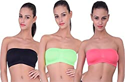 PIFTIF seamless non padded non wire strapless bandeau full side covrage tube bra for women's and girl s fit size ( 28 in to 36 in) GAJRI GREEN BLACK