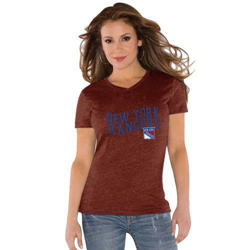 NHL Touch by Alyssa Milano New York Rangers Ladies Red Tri-Blend V-neck T-shirt (X-Large) at Amazon.com