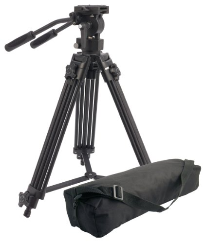 Camlink TPVIDEO1 Professional Video Tripod with Free Carry Case and Fluid Pro Video Head