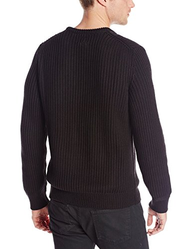 Calvin Klein Men's Cable Front Ribbed Crew Neck Sweater, Black, Large