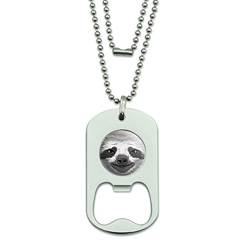 Sloth Face Dog Tag Bottle Opener