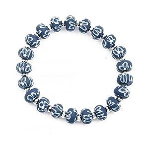 Bracelet élastique perles fimo fleurs bleues et perle cristal