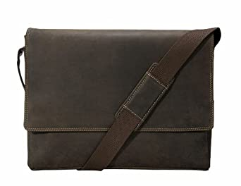 Visconti 18516 Oil Brown Distressed Leather Messenger Bag - 3/4 Flapover (Oil Brown)