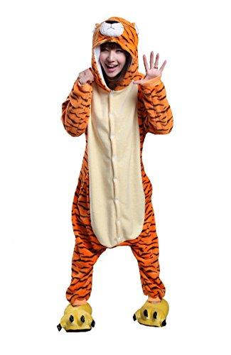 honeystore adult unisex tiger pajamas halloween costume cosplay animal onesies