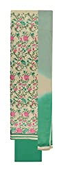 Sanskriti Women's Cotton Unstitched Salwar Suit Material (White and Green)