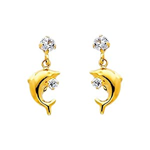 14K Yellow Gold Dolphin CZ Drop Stud Earrings for Children