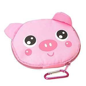 Cute Cartoon Pig Pattern Foldable Reusable Shopping Travel Bag Pouch Tote Handbag Pink