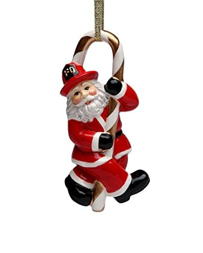 Cosmos Firefighter Santa & Candy Cane Ornament