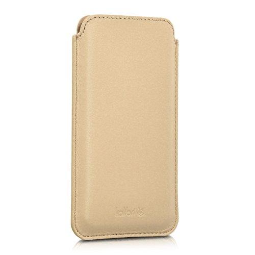 kalibri-Leder-Tasche-Hlle-fr-Apple-iPhone-6-6S-7-Handy-Case-Cover-Echtleder-Schutzhlle-in-Sand