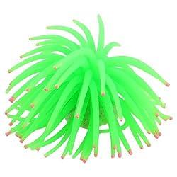 Aquarium White Ceramic Base Green Silicone Sea Urchin 5.1Dia