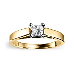 14k Yellow Gold Princess-Cut Diamond Solitaire Engagement Ring