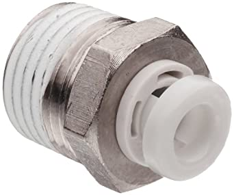 SMC KQ2H Push-to-Connect Tube Fitting, Adapter, Nickel Plated Brass Body, Tube OD x BSPT Male, With Sealant, Metric