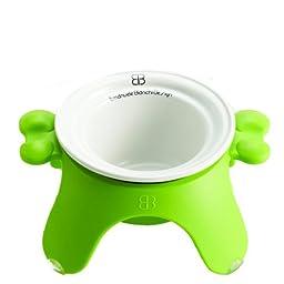 Petego Pet Bowl with Ceramic Tulip, Medium, Green