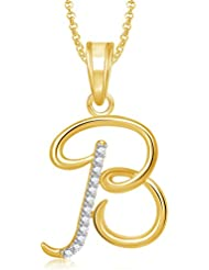 Meenaz Gold Plated 'B' Letter Pendant Locket Alphabet Heart With Chain For Men And Women PS459