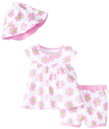 Offspring – Baby Apparel Baby-Girls Newborn Pink Daisy Diaper Set and Hat, White Floral, 6 Months