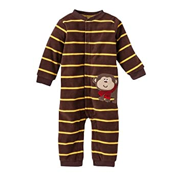 "Carter's Boys ""Let's Play"" One Piece Footless Striped ""Monkey"" Microfleece Jumpsuit Coverall (3 Months)"