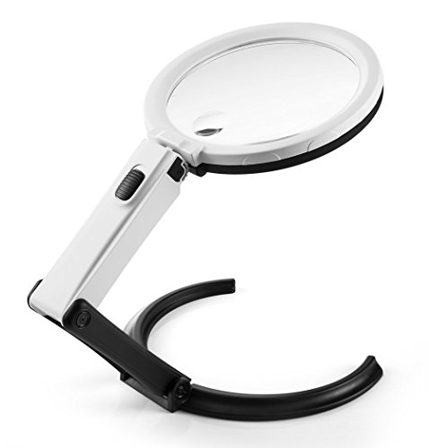 AboveTEK 5.5 inch 2X Desktop & Handheld LED Magnifier - Convertible Folding Design with 10 LED Lamp - Powered by 2 AA Battery or 110V Adapter - Plus 1