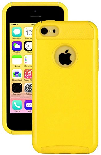 Mylife (Tm) Bright Sun Yellow Style 2 Layer (Hybrid Flex Gel) Grip Case For New Apple Iphone 5C Touch Phone (External Single Piece Full Body Defender Armor Rubberized Shell + Internal Gel Fit Silicone Flex Protector + Lifetime Waranty + Sealed Inside Myli