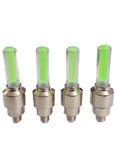 自転車用 バルブライト LEDタイヤライト 4個セット(発光カラー:緑)