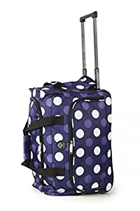 Wheeled Cabin Pull Suitcase Cabin Trolley Holdall Luggage Unisex Ryanair BMI (Polka Dot Navy)