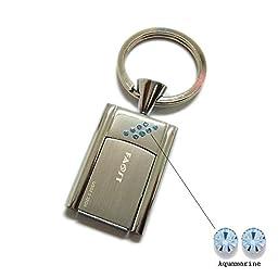 Faost Design 32GB Swarovski Crystal DM329132 Key Holder Silver Metal Case Handmade Freedom Flip Usb2.0 USB Flash Drive Memory Stick Pendrive Thumb iUSB Data Storage color crystal (Blue)