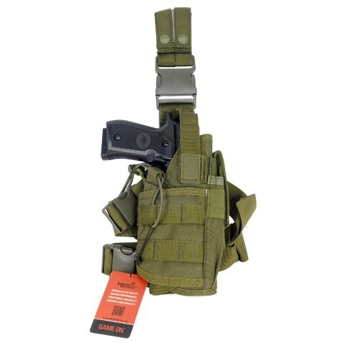 Armstac® Tornado Drop Leg Holster [S5] Tactical Pistol Holster With Quick Detach Buckle Clips, Double Adjustable Leg Straps, Single Magazine Pouch, In Green Color + Armstac® Lifetime Warranty & Tech Support