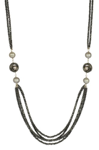 Multi-Strand Hematite Beads and Circles with Silver Grey Freshwater Cultured Pearl Necklace, 26.5