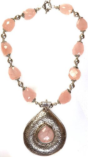 Faceted Rose Quartz Necklace from Exotic India - Sterling Silver Chain