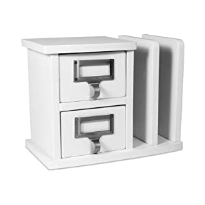 Letter Holder with 2 Drawers in White by Organize It All