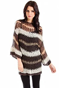 Lumiere Deconstructed Knit Striped Sweater in Brown and Off White